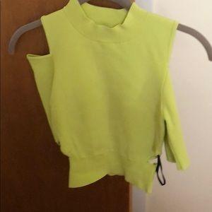 Lime green cutout crop top sweater size Xs BEBE